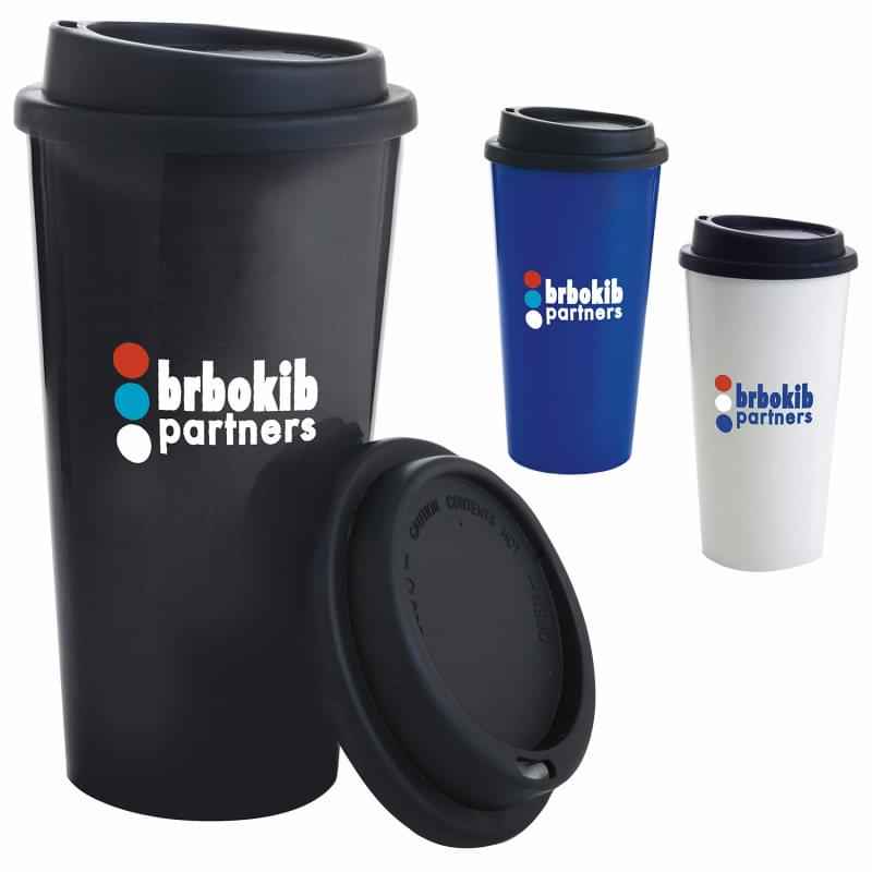 Double Wall PP Tumbler with Black Lid - 17 oz.