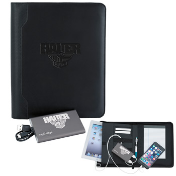 Textured e-Junior Padfolio w/ myCharge&#174 RAZOR MAX