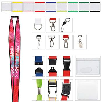 "3/4"" Polyester Lanyard with Ribbon (Heat Transfer)"