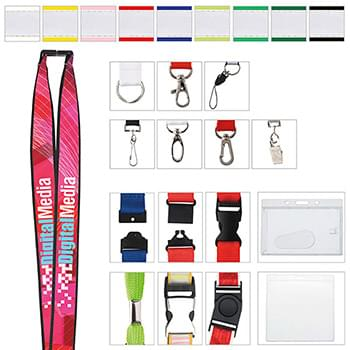 "1"" Polyester Lanyard with Ribbon (Heat Transfer)"