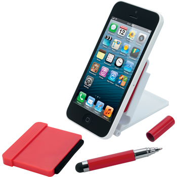 Folding Phone Holder w/ Stylus and Screen Cleaner