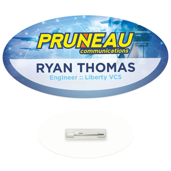 "3"" x 1-1/2"" Oval Economy Name Tag"