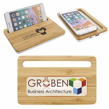 Bamboo Wireless Charging Pad with Phone Stand