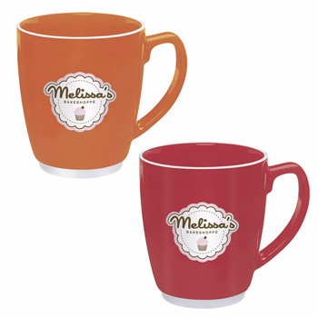 Large Color Bistro w/ Accent Mug-20 oz(red,orange)