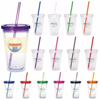 Clear Tumbler with Colored Lid - 18 oz.